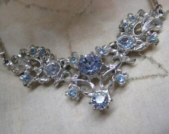 Shabby Blue Flower Rhinestone Necklace Silver Vintage