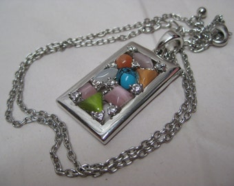 Pink Orange Turquoise Green Necklace Rhinestone Vintage Silver Pendant Clear