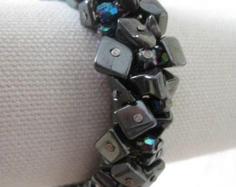 Hematite Aurora Bracelet Stretch Vintage Dark Gray