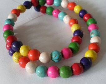 8mm Multicolor Turquoise round stone beads -  Full Strand