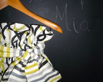 Heavy Weight Geometric Print - Paper Bag SKIRT and SASH - Made in ANY Size - Boutique Mia