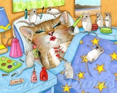 Laminated Fridge Magnet Print ACEO Cat 508 mouse from funny art painting by L.Dumas