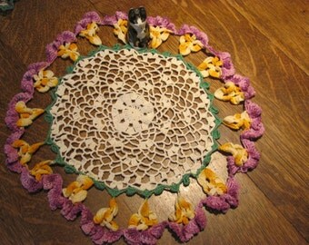 """Vintage Large Multicolored Round Doily, Purple,Yellow and Green, 14"""""""