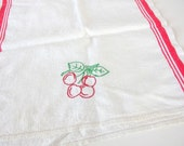 Vintage Red and White Tea Towel with Embroidered Fruit