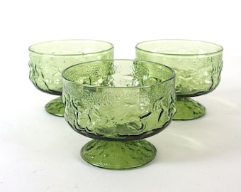 3 Retro Dishes Avocado Green Footed Champagne / Sherbet Glasses, Vintage 1970's
