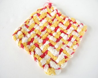 Vintage Red, White and Yellow Woven Potholder