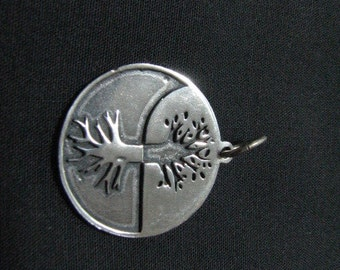 Authentic Tree of Life Charm Pendant Sterling Silver Medallion Roots and Branches