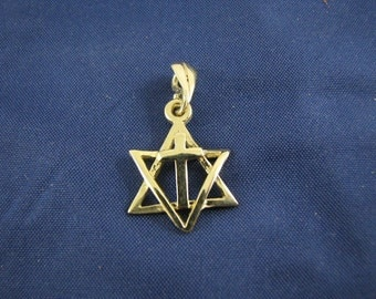 14K Yellow Gold Star of David with Cross Charm Pendant Messianic Jewelry, Gold David Star and Cross
