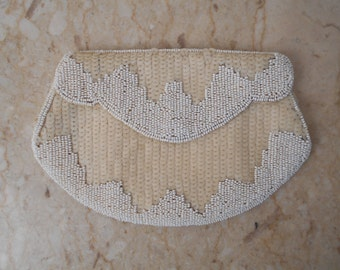 vintage 30s WHITE Glass & Sequins Beaded Bag - Czech Hand Made Formal Bag - Wedding, Proms