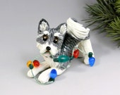 Alaskan Klee Kai Christmas Ornament Figurine Lights Porcelain