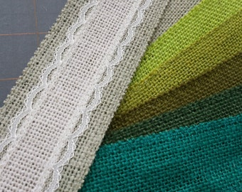 CLEARANCE LAST CHANCE - Green and Ivory burlap and lace ribbon