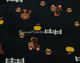Apple Orchard - Vintage Fabric Whimsical Novelty Fruit Juvenile 34 in wide 50s