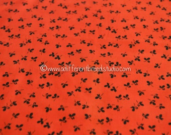 "Elegant Black Leaves - Vintage Fabric 40s 50s 35"" wide New Old Stock Orange"