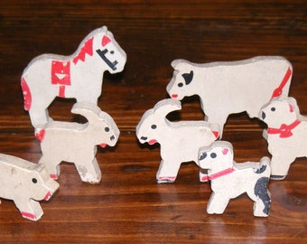 Antique Putz Red and White Farm Animal Lot Cow Pig Sheep Goat Dog Horse