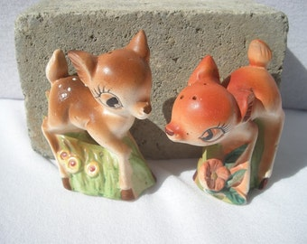 Vintage Deer Falina Brown Bambi Salt & Pepper Shakers Collectibles or Cake Toppers