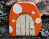 Wood Mushroom Fairy Door for Enchanted Gardens 4 inches Orange