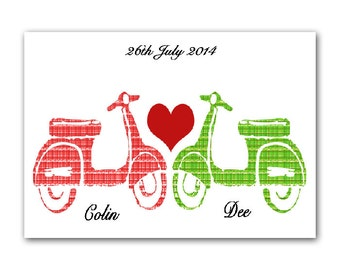 Personalised Vespa Scooters in Love - Fine art print, Modern decor scooter, Valentine gift, Wedding gift, Vespa lovers