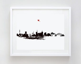 Sydney City Skyline Fine Art Print, Home Decor, Harbour Bridge, Sydney Opera House, Australia