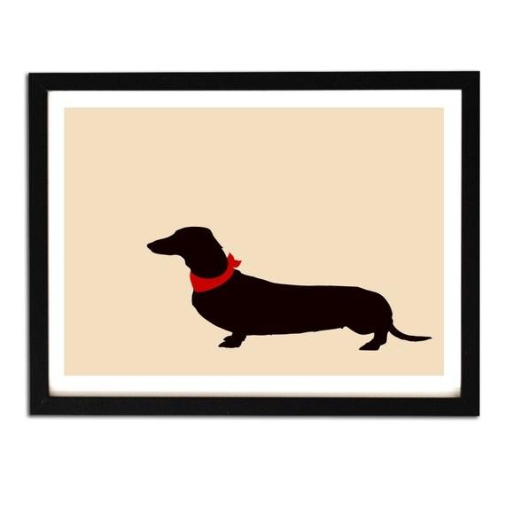 Dachshund art - Fine art print, dachshund dog silhouette, sausage dog art, beige dachshund dog, Dachshund Gifts, Dog Gift Ideas