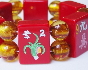 Mah Jong / Bracelet / Mahjong / Majong / MahJong / Mahjongg / Mah Jongg / Mahjongg / Red / Chinese Red / Flower Tile / LUCKY / Golden Yellow