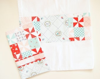 Oven Mitt or  Kitchen Towel in Country Patchwork - Aqua Red and Pink