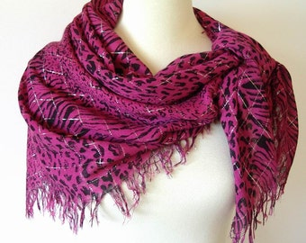 """Vintage Hot Pink Leopard Print Fringed Scarf with Silver Metallic threads Rayon 38"""" Square"""