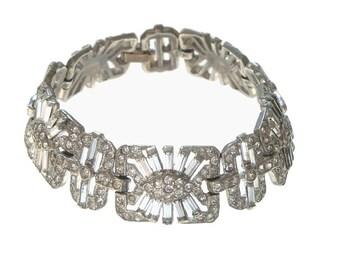 Art Deco Bracelet, 1920s Antique Wide Rhinestone Cuff, Vintage Designer Jewelry, Wedding Statement Jewellery, Bridal Accessory