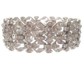 Vintage Art Deco Bracelet, Wide Rhinestone Crystal Cuff, 1920s Deco Link, Wedding Jewelry