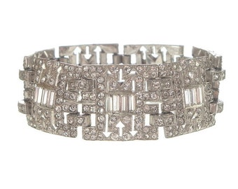 Art Deco Wide Bracelet, Vintage Baguette Designer Rhinestone Cuff, Antique 1920s Art Deco Jewelry, Statement Wedding Jewellery
