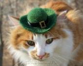 Leprechaun Cat Hat -  Saint Patrick's Day Cat Hat -Saint Patty's Day - Costumes for Cats Hand Felted Hat - Pet Costume - Cat Photo Prop
