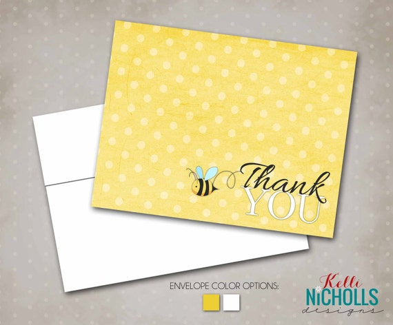 Bumble Bee Baby Shower Thank You Cards, Mommy to Bee Thank You Notes with Envelopes #S104