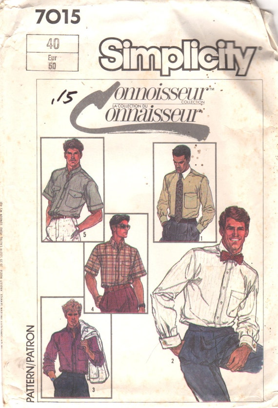 Simplicity 7015 1980s  Mens Shirt Pattern Connoisseur Collection Adult  Vintage Sewing Pattern Chest 40