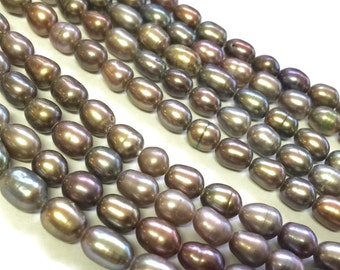 Rice Pearl, Oval Pearl, Freshwater Pearl,  peacock grey pearl 6mm X 8mm 15 inches full strand 55pc #DR3202