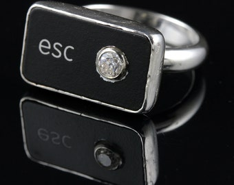 Computer Key Jewelry - rePURPOSED MacBook Esc Key Ring with Cz - Size 4.5