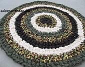 Earth circle crocheted circle rag rug, eco friendly, washable, earthy colors, durable,bath mat, durable, bath mat,  kitchen, home decor