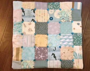 SEAGLASS Quilted Patchwork Pillow Cover 18 x 18 beachy sealife aqua blue grey ocean