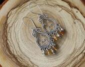 Autumn Delight Sterling and Hessonite Garnet Chandelier Earrings