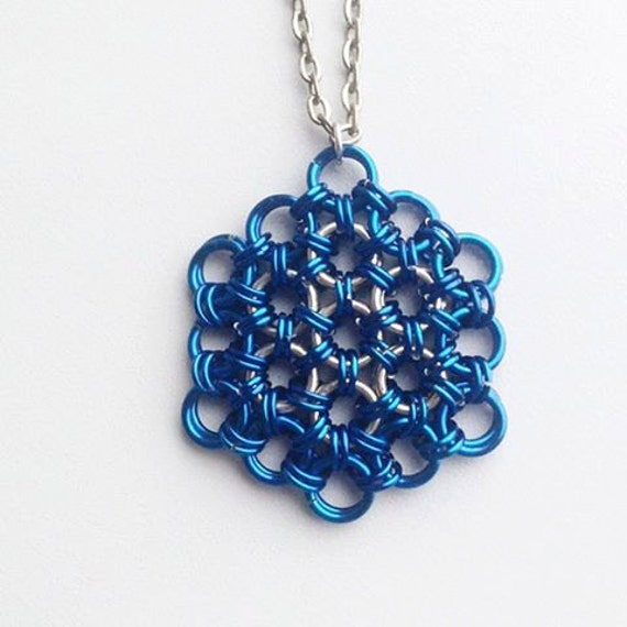 Blue Flower of Life Pendant, Chainmaille Pendant, Mens Pendant, Sacred Geometry Pendant, Men's Necklace, Meditative