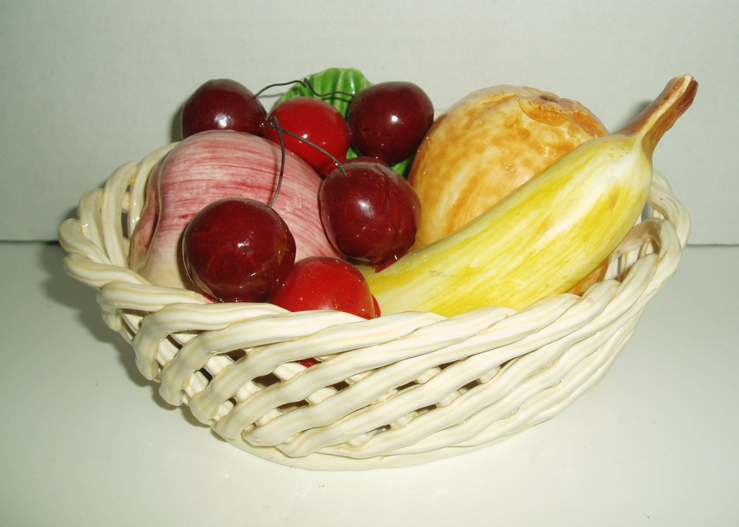 Ceramic Fruit Centerpiece Lattice Basket Bowl By Shab2chic