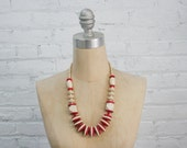 vintage 80s geometric wood bead necklace / red and cream minimalist color block