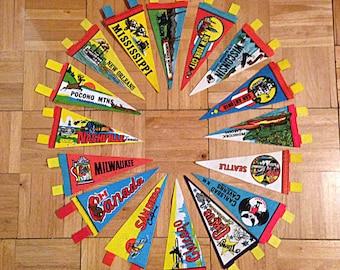 vintage wholesale lot of travel souvenir felt pennants / diy bunting kit / diy banner kit / midcentury modern / 16 pieces