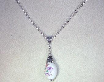 White Ceramic Necklace - Floral - Silver Rolo Chain