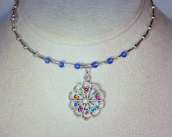 Swarovski Crystal and Silver Necklace - Shown in Sapphire & Multicolored Flower - Available in Any Birthstone