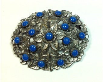 Vintage brooch silver flowers lapis blue centers