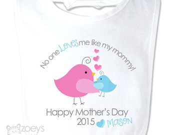 Mother's Day bib  no one loves me like my mommy for boy or girl  - best first Mother's Day gift from baby