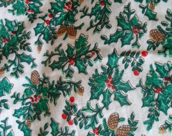 """Fabric for Sewing Crafts Berries and Bows Yuletide Cotton 43-44"""" wide 3.30 yards"""