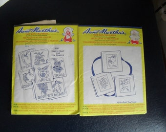 2 Aunt Marthas Hot Iron Transfers Embroidery New and Used