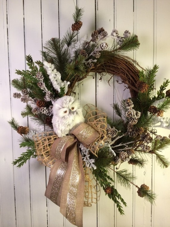Christmas Wreath For Door Owl Christmas Decor Rustic