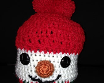 Winter Snowman Hat - button eyes and carrot nose
