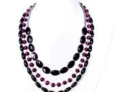 Black Statement Necklace - Purple Beaded Layered Necklace - Dark Purple Plum